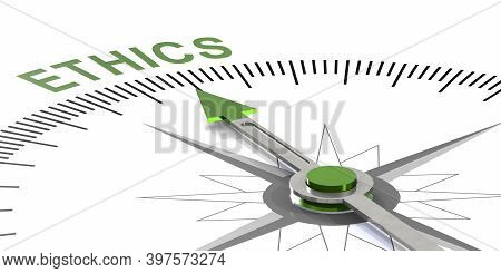 Ethics Word On White Compass, 3d Rendering