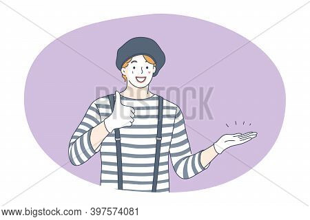 Circus, Performance, Entertainment Concept. Young Man Clown Performer Cartoon Character In Striped C