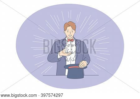 Circus, Performance, Entertainment Concept. Young Man Magician Performer Cartoon Character Showing M