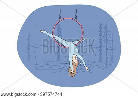 Circus, Performance, Entertainment Concept. Young Woman Air Gymnast Cartoon Characters Making Perfor