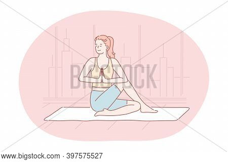 Yoga, Meditation, Healthy Active Sport Lifestyle Concept. Young Smiling Woman In Sportswear Sitting