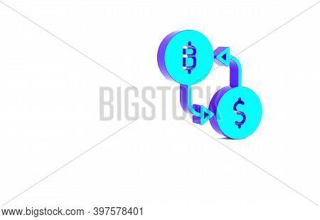 Turquoise Cryptocurrency Exchange Icon Isolated On White Background. Bitcoin To Dollar Exchange Icon
