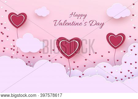 Illustration of love background for happy valentines day card with hearts.  Happy Valentines Day card with hearts, cupids and place for your text vector illustration. Valentines day background. Valentine, valentine day, Valentines Day background, Valentin