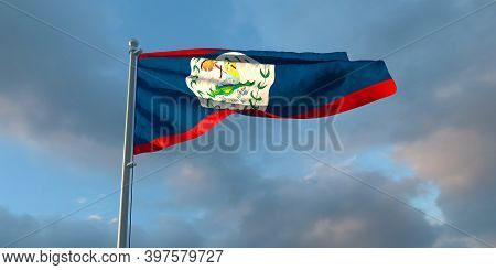 3d Rendering Of The National Flag Of The Belize