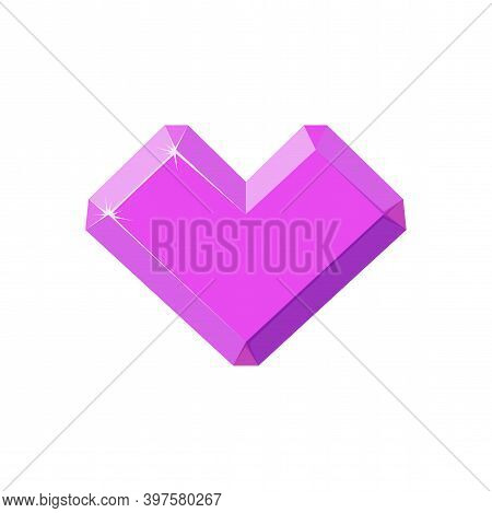 Amethyst Crystal In Shape Of Heart. Pink Heart Crystal Isolated In White Background. Cartoon Vector