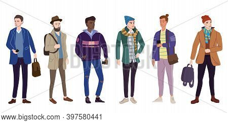 Set Young Mans Students In Modern Autumn Trendy Clothes. Fashion Casual Outerwear Street Style Chara
