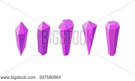 Pink Crystal Stones Like Amethyst Quartz. Set Of Gems Or Glass Crystals For Games And Other Designs.