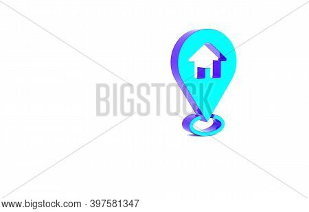 Turquoise Map Pointer With House Icon Isolated On White Background. Home Location Marker Symbol. Min