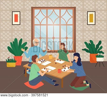 Happy Family Spend Time At Home. People Playing Bingo Lotto Game At Table. Mother, Daughter, Father,