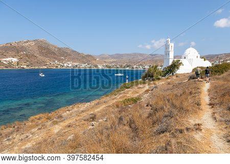 Greece, Ios Island, Chora- 22 September 2020: People On The Path To The Agia Irini, Saint Irene, Gre