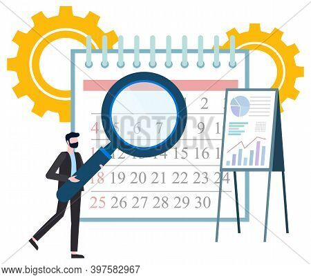 Bearded Man With Magnifying Glass Examines Calendar. Whiteboard With Graph. Business Organization An