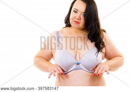 Fat Woman Big Breast Wearing Bra