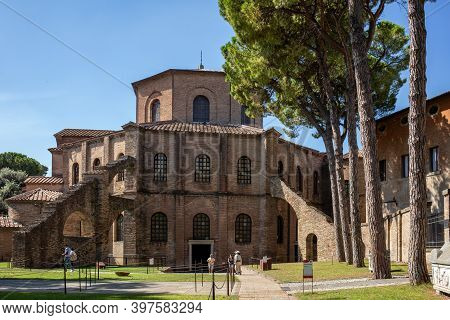 Ravenna, Italy - Sept 11, 2019: Famous Basilica Di San Vitale, One Of The Most Important Examples Of