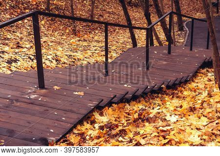 Wooden Staircase With Iron Handrail In The Autumn Park. Bright Autumn Leaf