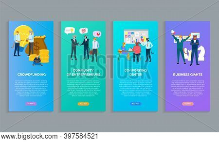 Crowdfunding, Community Of Entrepreneurs, Co-working Center, Business Giants Posters Or Banners In C