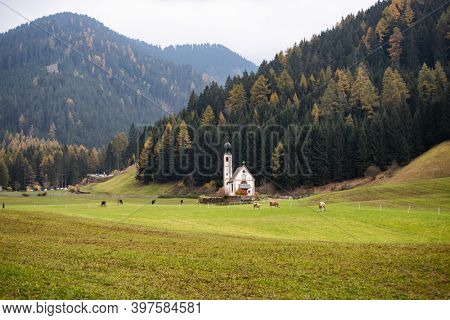 San Giovanni Church in autumn sun, Santa Maddalena touristic village, Dolomites, Italy