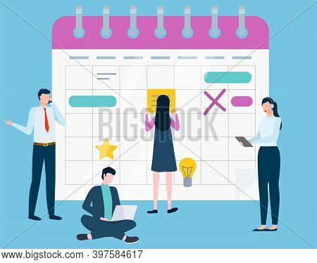 People Organizing Working Assignments And Deadlines Vector, Calendar With Empty Cells. Business Team