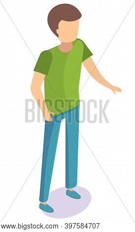 Cartoon Man Character Template. Boy With Brown Hair Wearing Blue Jeans And Green Shirt Standing . Ma