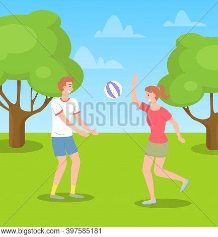 Children Spending Time In Summer Park Playing With Ball, Kids Have Fun, Recreation, Girl With Ponyta