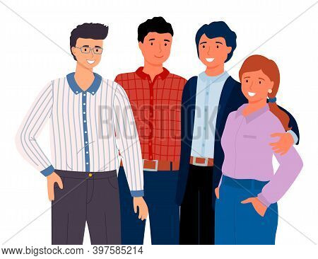 Multinational People With Different Colors Of Hair. Young Guys And Men With Red-haired Girl With Pon