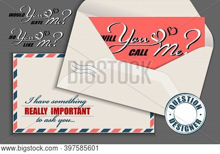 Hand Drawn Calligraphy Lettering With Copy Space Card And Vintage Envelope. Vector Mockup Constructo