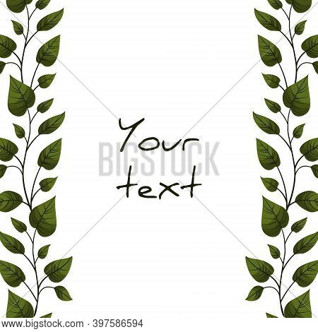 Vertical Foliate Borders For Greeting Cards, Invitations, Wedding Cards, Posters, Banners, Web Desig