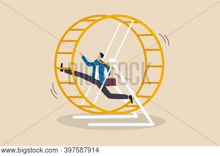 Office Salary Man Work In Loop With No Career Path, Tried Or Fatigue Of Overwork, Inefficient Or Wor