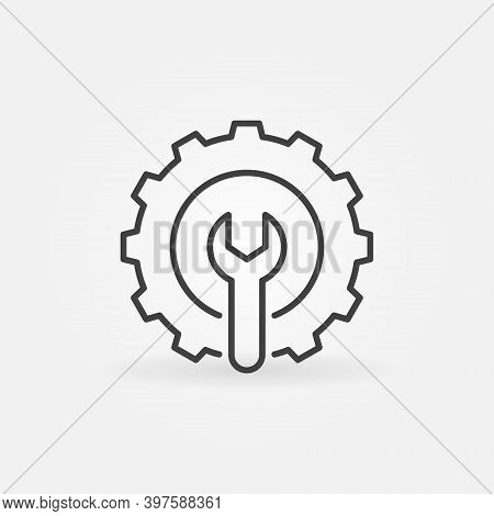 Spanner Inside Gear Linear Icon. Setup Or Settings Vector Concept Sign Or Logo Element