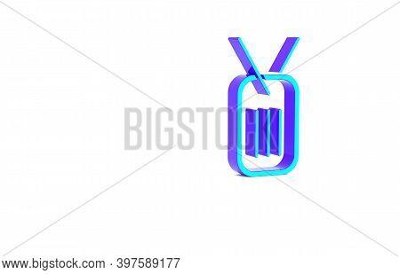 Turquoise Military Dog Tag Icon Isolated On White Background. Identity Tag Icon. Army Sign. Minimali