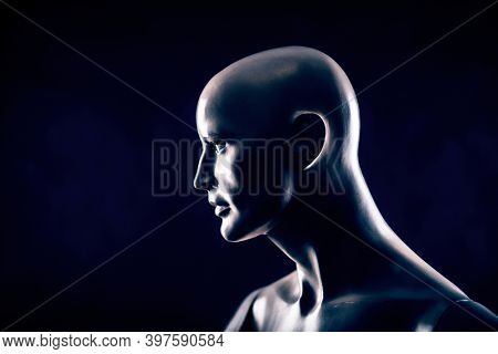 Man portrait on black background 3D illustration