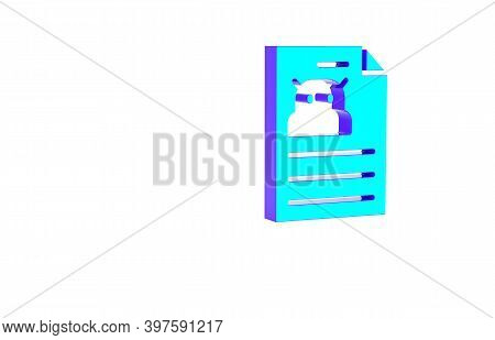 Turquoise Technical Specification Icon Isolated On White Background. Technical Support Check List, T