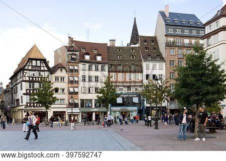 Strasbourg, France - September 09, 2010: The Ancient Houses On The Kleber Square In Strasbourg. Alsa