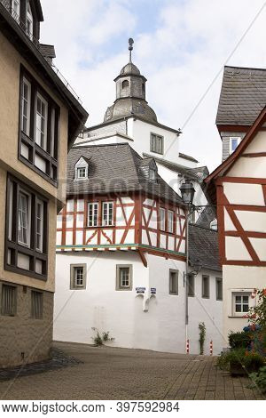 A Corner With The Ancient Houses In Limburg An Der Lahn City In Germany. Limburg An Der Lahn Is A Be