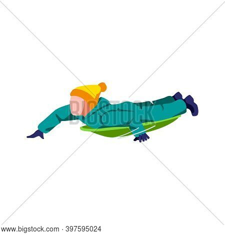 Boy Sledding On Sleigh. Boy In Winter Clothing Riding Plastic Sled. Winter Sports Activities Winter