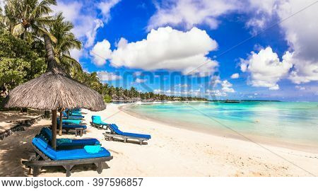 Relaxing tropical holidays . beach scenery . resorts of Mauritius island, Belle Mare beach