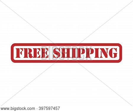 Free Shipping Vector Label Rubber. Red Vintage Delivery Stamp Seal. Label And Tag Logo. Package Stic