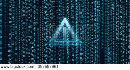 Careful Sign Exclamation Mark Shows Data Breaches Through Binary Code With Binary Stream And Data Se