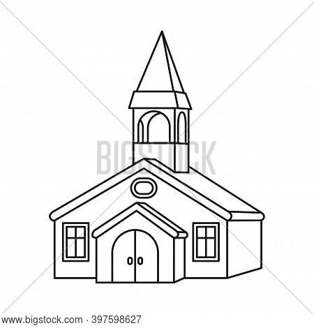 Line Art Black And White Town Hall. Small Town Building. Vector Illustration For Icon, Site Label, G