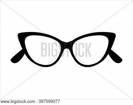 Retro Icon Cat's Eye Lens Glasses Isolated On Background, Retro Black-rimmed Glasses, Women's And Me