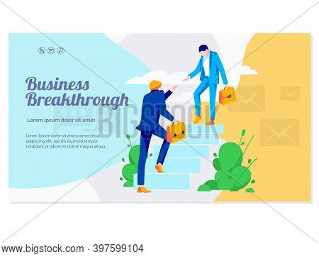 Business Breakthrough Banner Template. Colleagues Partners Climbing Up Stairs. Businessman Helping A