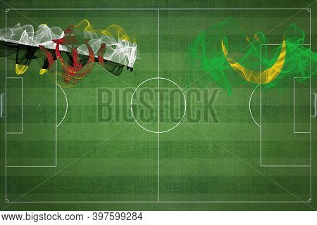 Brunei Vs Mauritania Soccer Match, National Colors, National Flags, Soccer Field, Football Game, Com