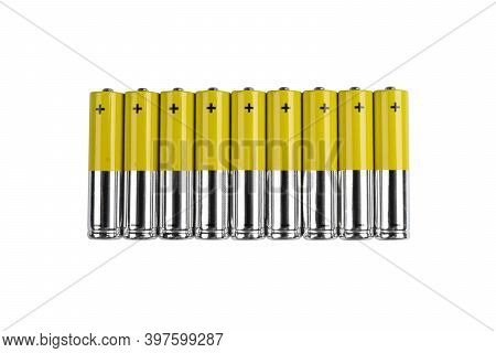 Battery. Alkaline Battery Isolated On White Background With Clipping Path. New Alkaline Aa Battery W