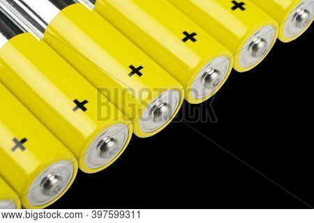 Macro Shot Battery. Alkaline Battery Isolated On Black Background With Clipping Path. New Alkaline A