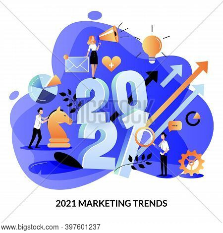 Digital Marketing Trends, Strategy, Business Plan For 2021 Year. Expectation, Perspective Concept. V