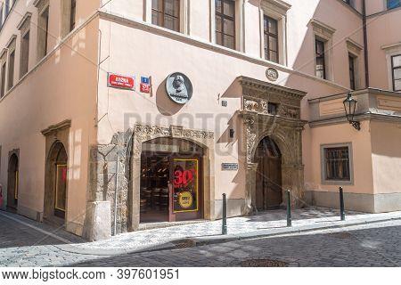 Prague, Czech Republic - July 10, 2020: Praha Candy Shop In Old Town.