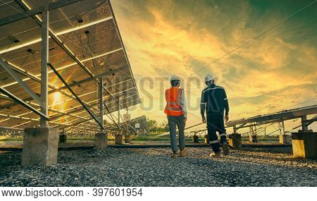 Low Angle View Of Technician Walks With Investor Through Field Of Solar Panels, Alternative Energy T