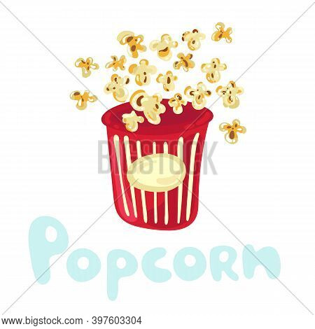 Cute Popcorn Flying Out Of Striped Cardboard Box Isolated On White Background. Littered Heap Of Corn
