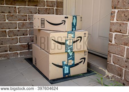 Sydney, Australia - 2020-11-29 Amazon Prime Boxes Delivered To A Front Door Of Residential Building