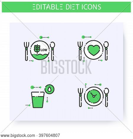 Diet Line Icons Set. Calorie Count, Healthy Nutrition Concept. Low Carb Diet. Water Balance. Nutriti