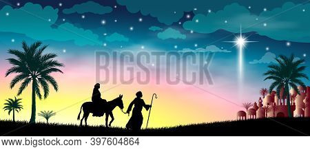 Virgin Mary And Joseph Against The Background Of The Star Of Bethlehem. Their Journey. Desert, Starr
